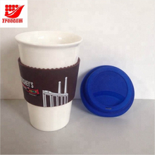 Logo Customized Silicone lid Ceramic Coffee Mugs