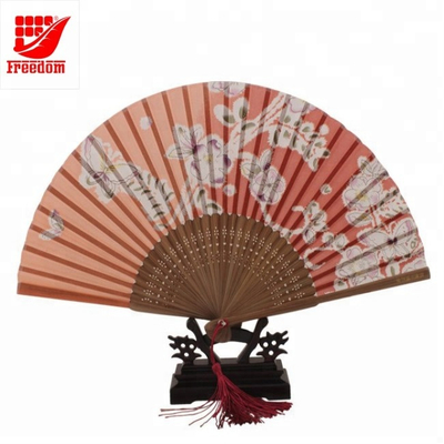 Bamboo Plastic Folding Promotional Fan