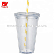 Promotional Gifts Double Wall Tumbler With Straw