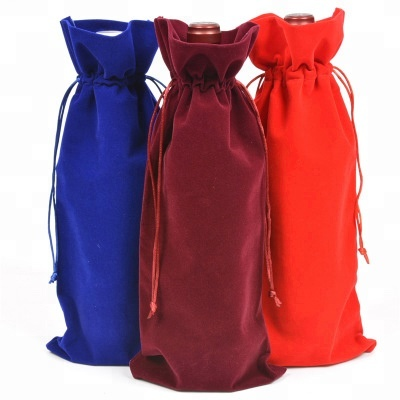 Hot Sale Custom Flannelette Drawstring Bottle Bag